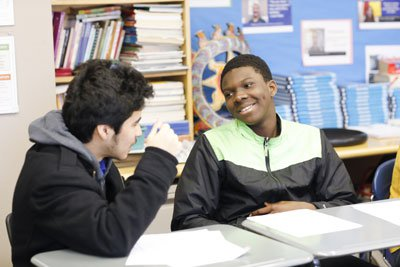 A student and interviewer | High Jump Chicago